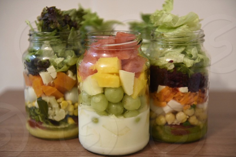 delicious salads vegan veggies fruits  photo