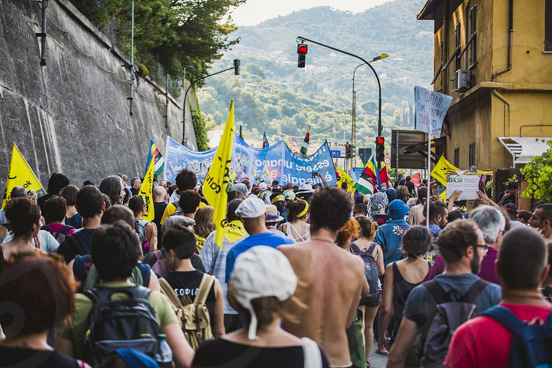 People who protest during an anti-racist demonstration in Ventimiglia. Italy photo