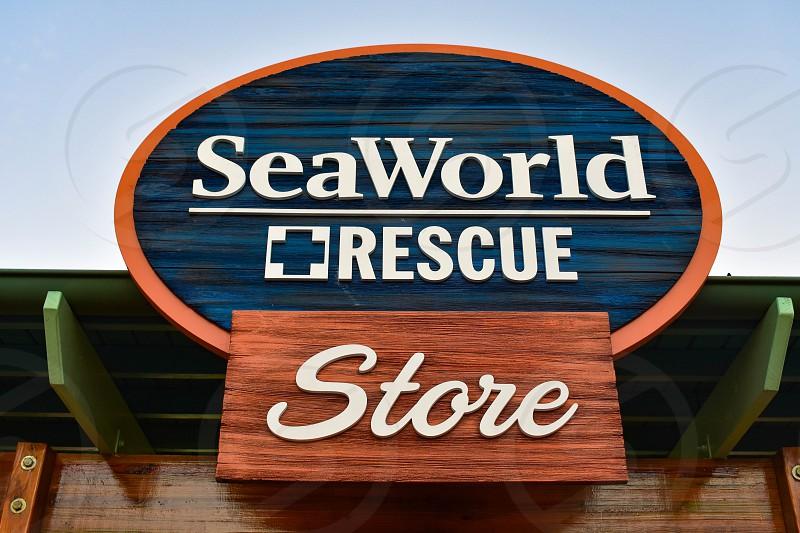 Orlando Florida . February 26  2019. Top view of Seaworld Rescue store sign at Seaworld Theme Park. photo