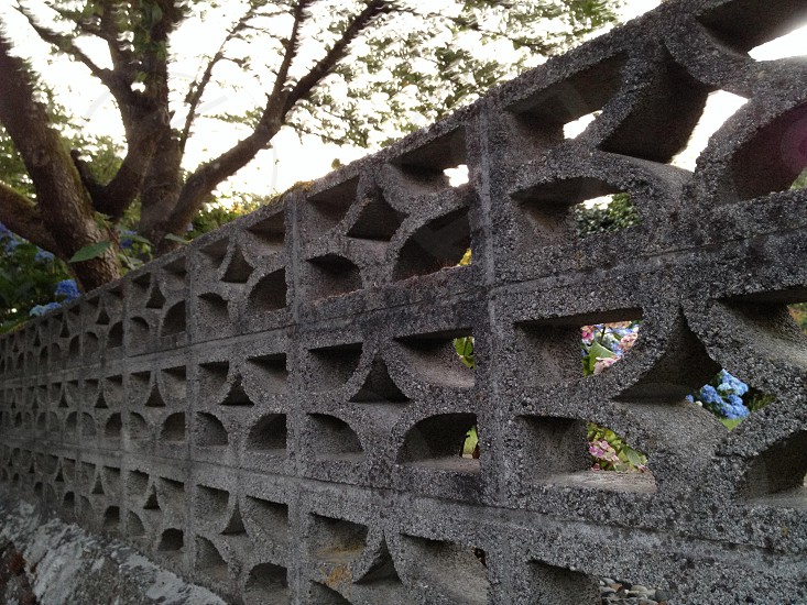 Pattern. Cement. Mid century modern landscape. Hard scape. Fence.  photo