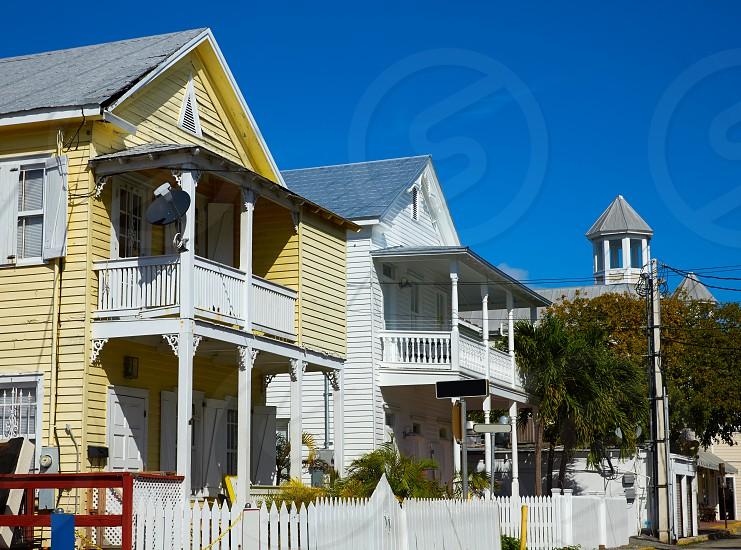Key west street house facades in Florida USA photo
