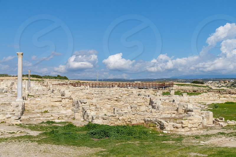 Ruins of the ancient city Cyprus Kourion photo