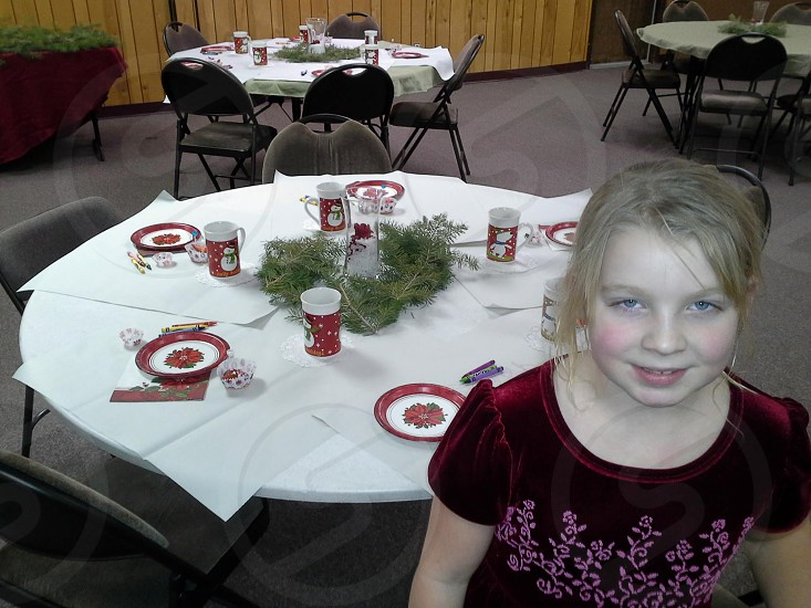 Christmas Tea Party girl Holiday kids photo