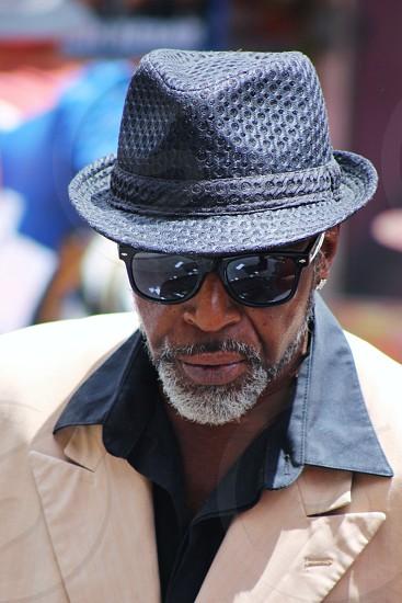 man in black fedora hat photo