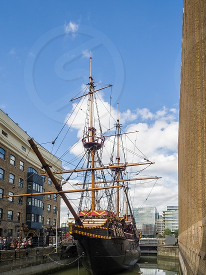 Close-up of the Golden Hind in london photo