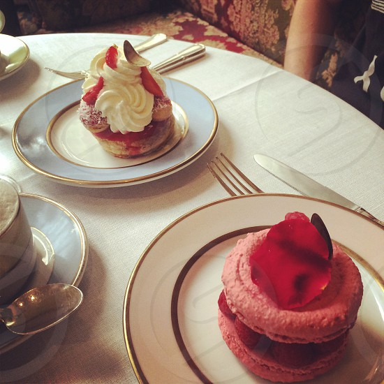Beautiful French patisseries at an afternoon tea in Paris   photo