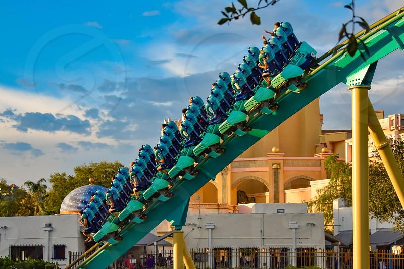 Orlando Florida. February 25  2019 People having fun Kraken rollercoaster at Seaworld Marine Theme Park (1) photo
