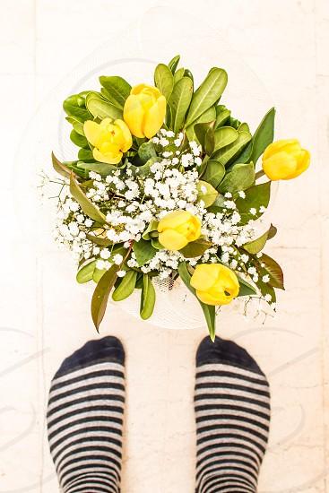 Yellow Tulips Bouquet Flowers In Front Of Feet Wearing Socks photo