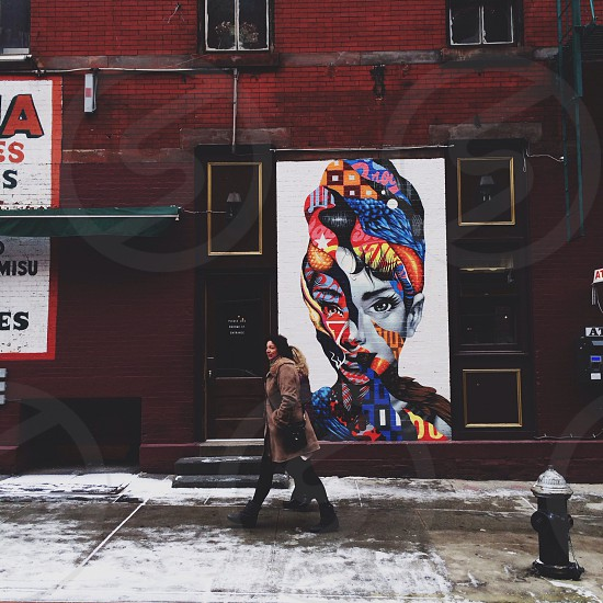 Two women walk by a piece of street art depicting Audrey Hepburn. spotted in the Little Italy area NYC.  photo