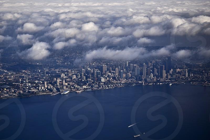 Skyline Seattle Washington landscape sound ocean bay photo