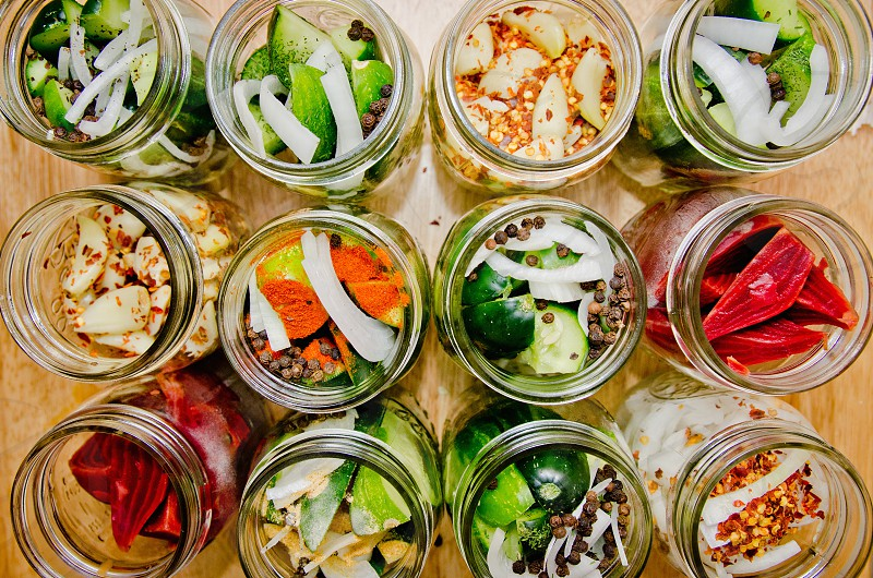 food pickles pickled foods pickling variety colors mason jars kitchen cook photo