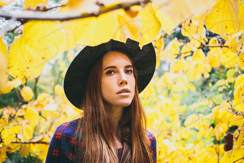 Portrait woman female fall outside nature  photo