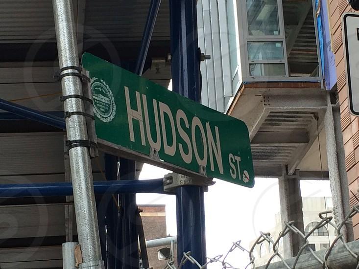 Hudson St road signage photo