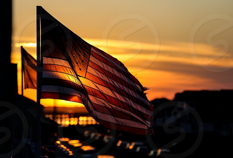 American Flag Sunset photo