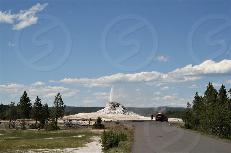White Dome Geyser in Yellowstone National Park Caldera photo