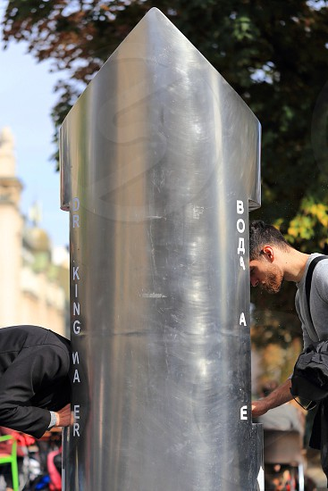Drinking water on the streets of Belgrade Serbia photo