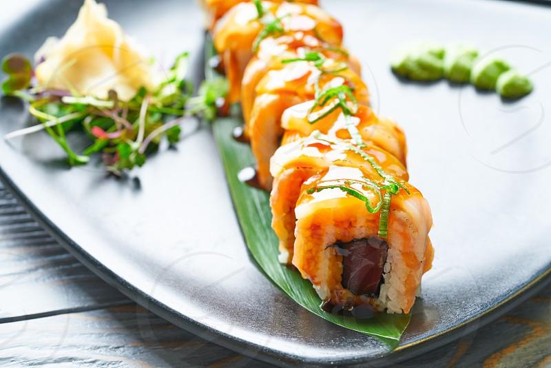 Rice Maki Sushi with nori foie mango and sweet onion photo