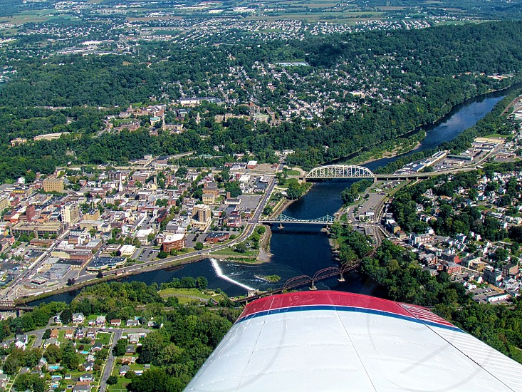Airplane view of city by the river. photo