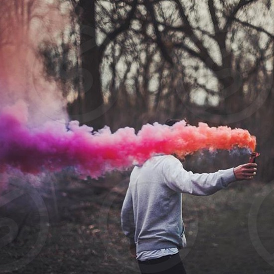 Colors woods trees smoke colorful arm hand walking sweater springtime summer sunset nature spring love cute fun photo