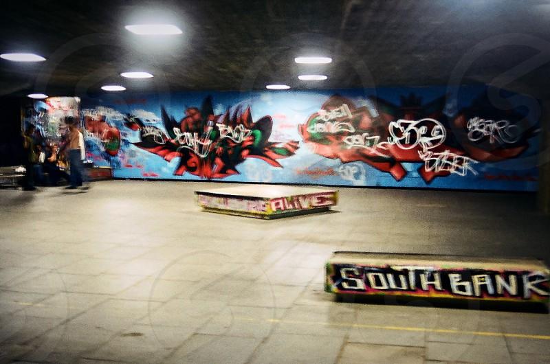 London South Bank skate boards skater graffiti alive gritty photo