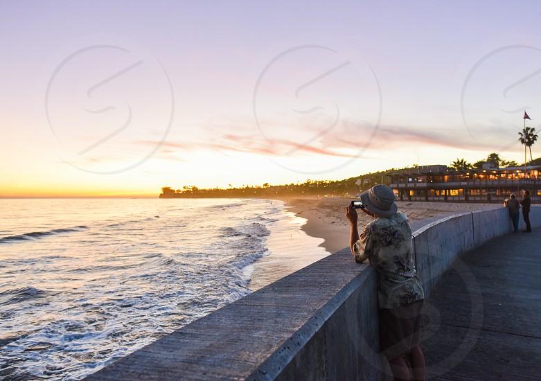 santa barbara harbor sunset photo