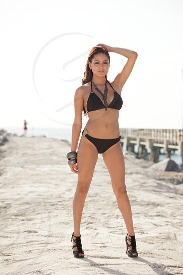 Bikini model in high heels photo