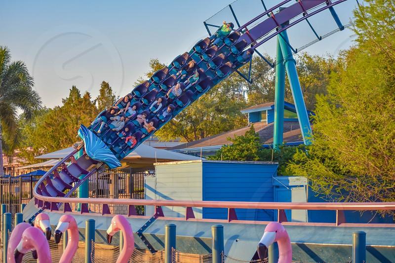 Orlando Florida. March 09 2019. People enjoying Mako rollercoaster at Seaworld in International Drive area (3) photo