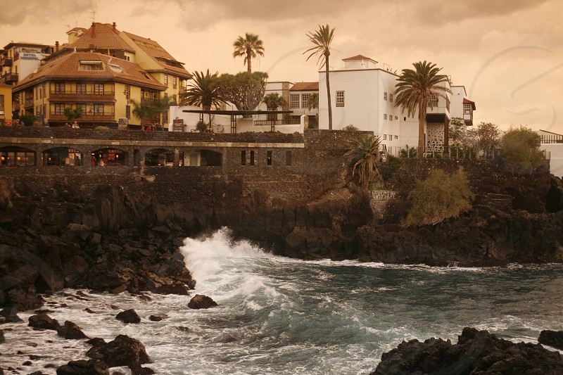 The coast in the village of  Puerto de la Cruz on the Island of Tenerife on the Islands of Canary Islands of Spain in the Atlantic.   photo