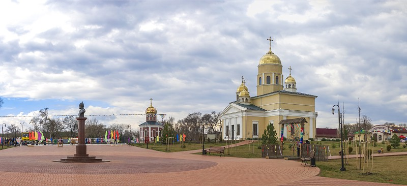 Bender Moldova - 03.10.2019. Alexander Nevsky Park and church on the territory of the historical architectural complex of the ancient Ottoman Citadel in Bender Transnistria Moldova. photo