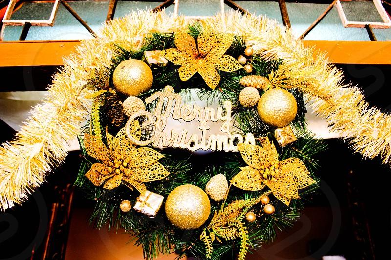merry Christmas Christmas décor over the door door front front door wreath green gold Chrissy xmas photo