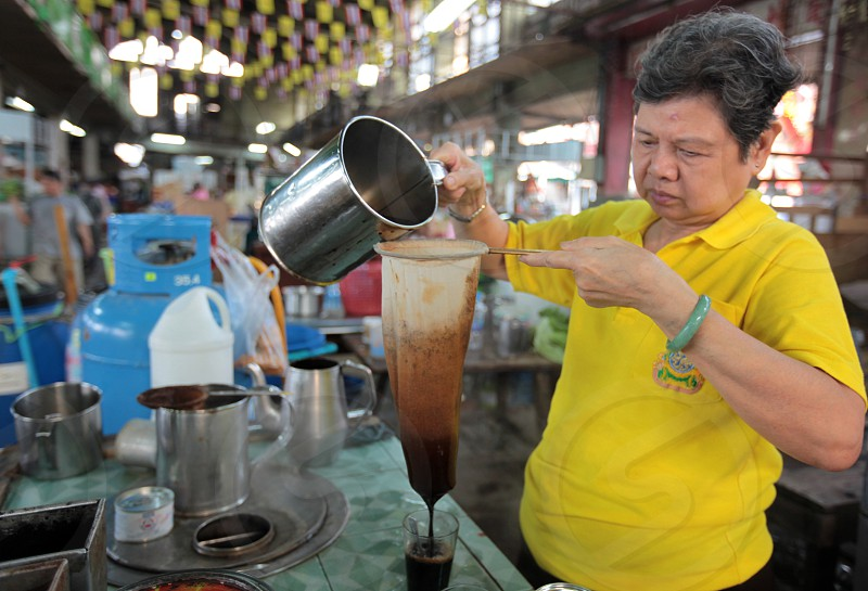 koffee at the Pak Khlong Food Markt in Banglamphu in the city of Bangkok in Thailand in Suedostasien. photo