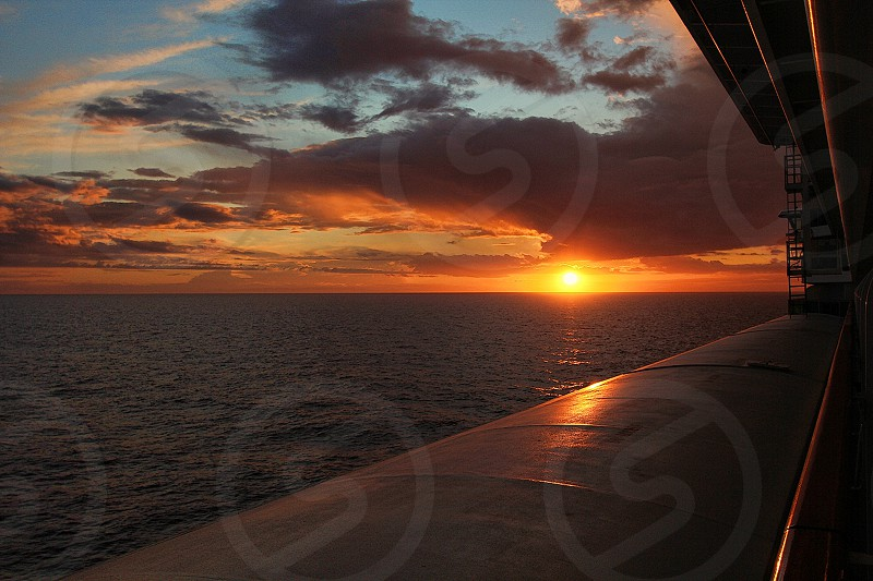 Great sunset in the Meditterean Sea taken from a cruise ship. photo