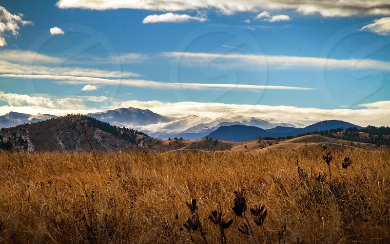 beige grass field near mountain photo photo