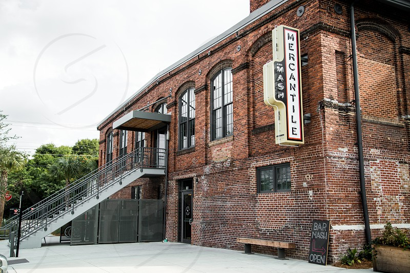 Exterior of Mercantile & Mash in an old cigar factory. photo