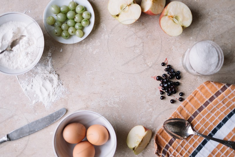 green grapes bowl of flour eggs and apples photo