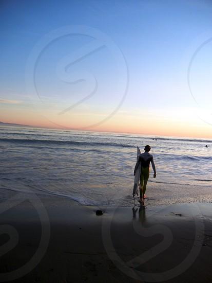 Beach surfer California sunset photo
