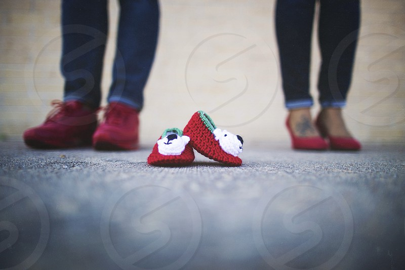 small green red and white wool slippers photo