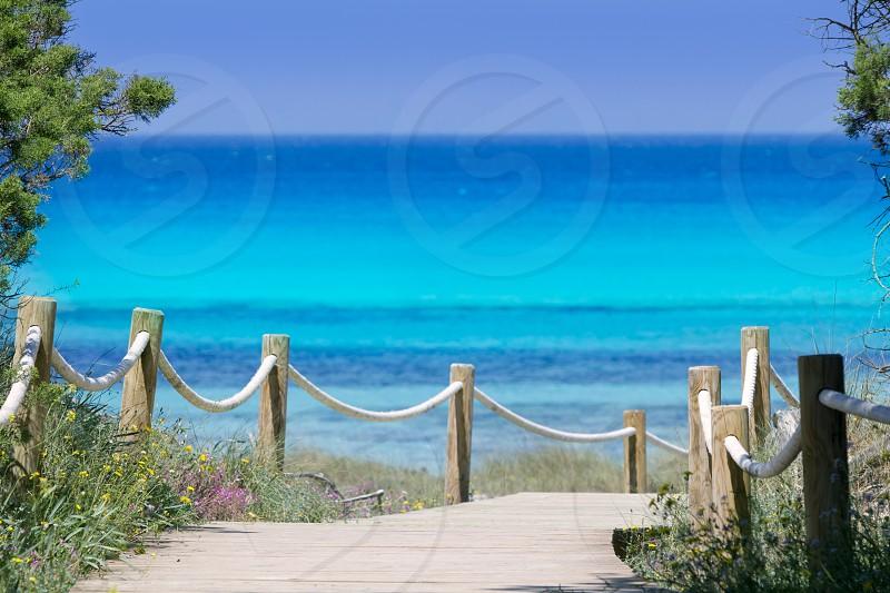 beach way to Illetes paradise beach in Formentera Balearic islands photo