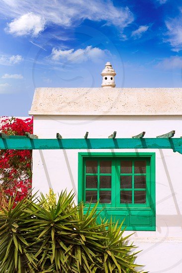 Lanzarote Teguise white village with church tower in Canary Islands photo