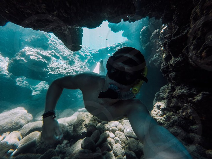Selfie in an underwater cave in Maui. photo