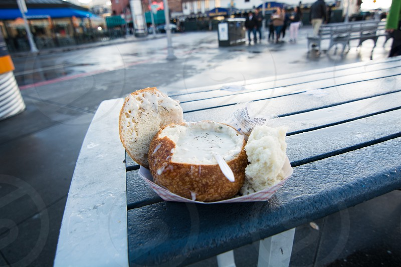 clam chowder in a bread bowl photo
