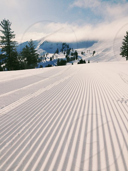 Groomed run on a ski slope in Lake Tahoe photo