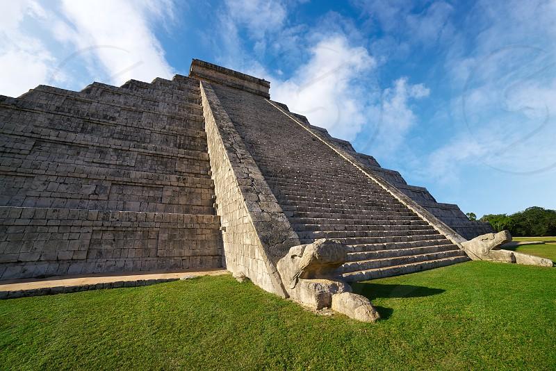 Chichen Itza pyramid snake El Templo Kukulcan temple in Mexico Yucatan photo