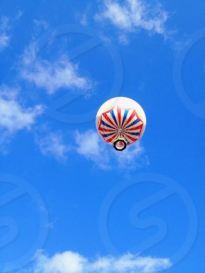 white air balloon with blue white print photo