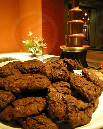 Chocolate cookies and chocolate fountain photo
