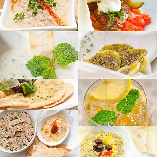 Arab middle eastern food collage collection on white frame photo