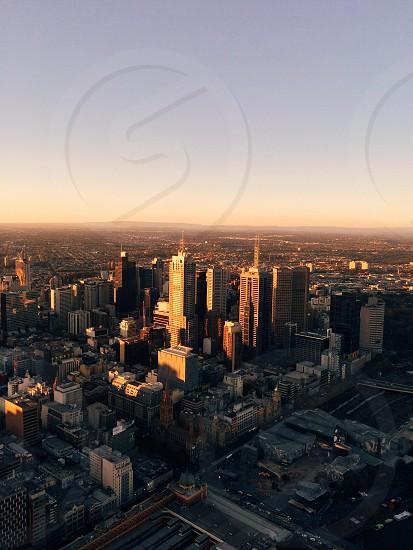 Sunset over the Melbourne skyline photo
