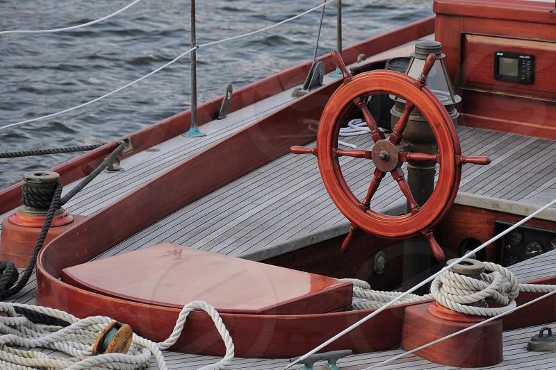 brown ship's wheel photo
