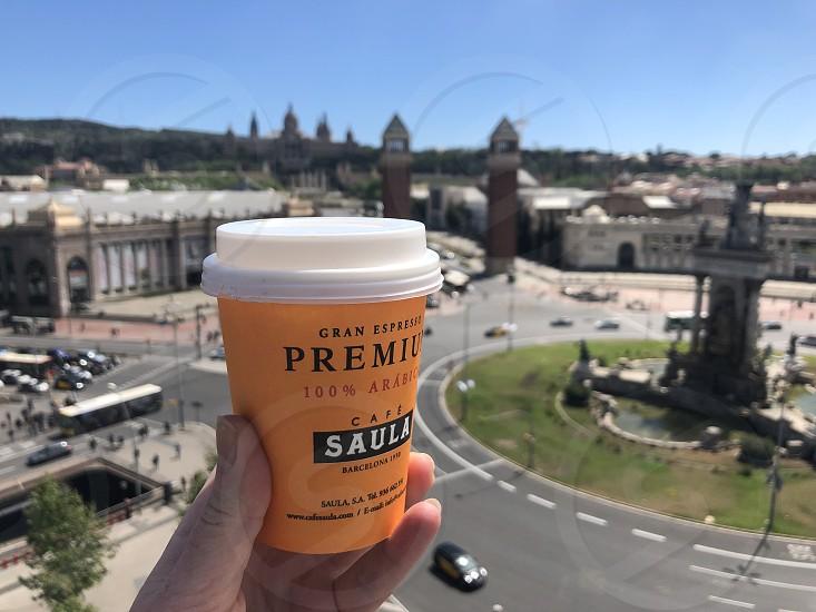 Coffee break during a walk around Barcelona. photo