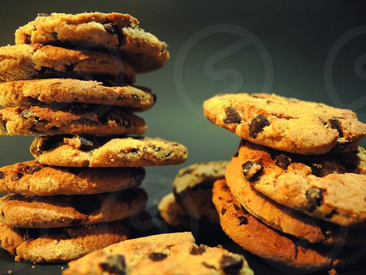 stacks of chocolate chip cookies photo